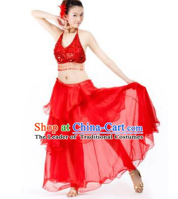Indian Traditional Dance Red Dress Oriental Belly Dance Stage Performance Costume for Women
