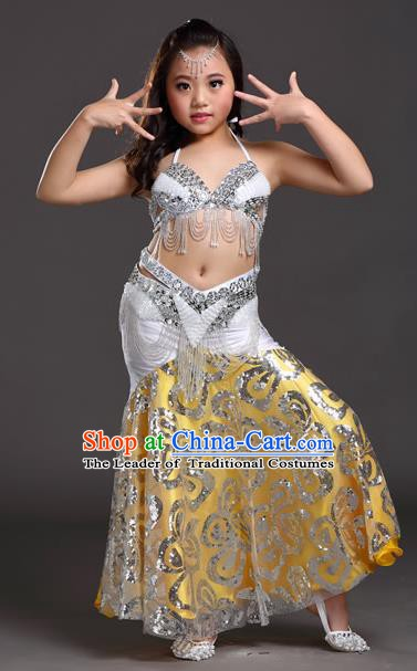 Indian Traditional Belly Dance White Dress Oriental Dance Performance Costume for Kids