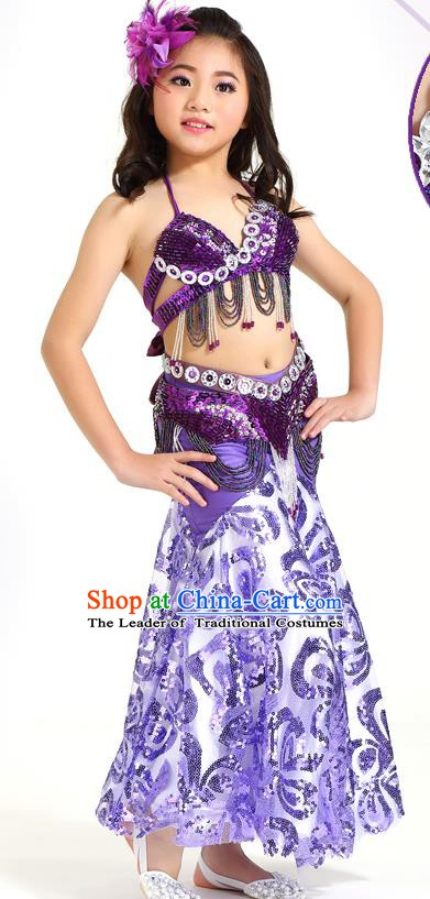 Indian Traditional Belly Dance Purple Dress Oriental Dance Performance Costume for Kids