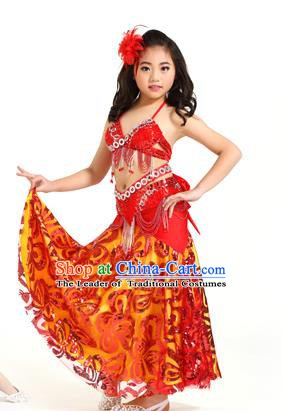 Indian Traditional Belly Dance Red Dress Oriental Dance Performance Costume for Kids