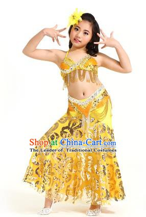 Indian Traditional Belly Dance Yellow Dress Oriental Dance Performance Costume for Kids