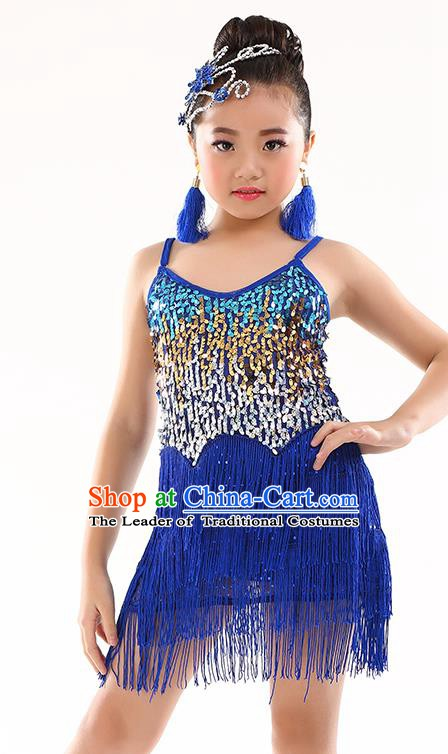 Children Modern Dance Jazz Latin Dance Costume Classical Dance Royalblue Dress for Kids