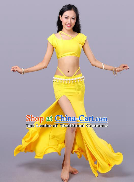 Indian Traditional Belly Dance Costume Classical Oriental Dance Yellow Dress for Women