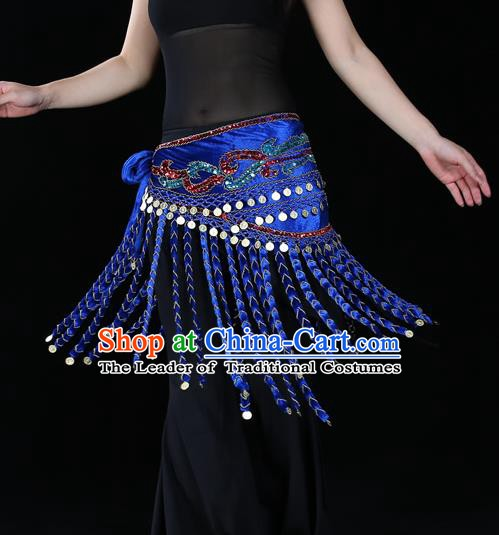 Indian Belly Dance Waist Accessories Stage Performance Royalblue Tassel Waistband Belts for Women