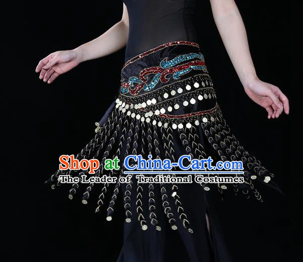 Indian Belly Dance Waist Accessories Stage Performance Black Tassel Waistband Belts for Women