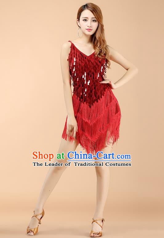 Top Grade Modern Dance Jazz Latin Dance Costume Classical Dance Red Sequin Dress for Women
