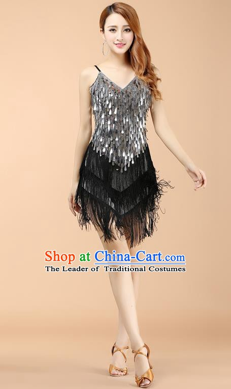 Top Grade Modern Dance Jazz Latin Dance Costume Classical Dance Argentate Sequin Dress for Women