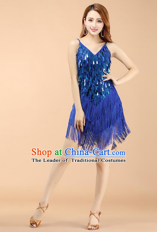 Top Grade Modern Dance Jazz Latin Dance Costume Classical Dance Blue Sequin Dress for Women