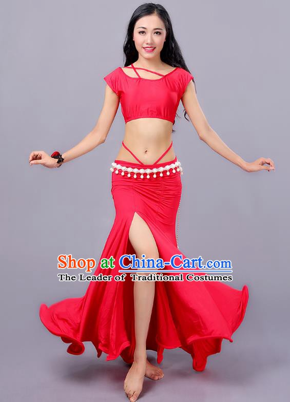 Indian Traditional Belly Dance Costume Classical Oriental Dance Red Dress for Women