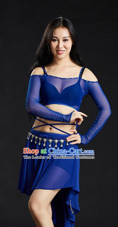 Indian Belly Dance Royalblue Dress Classical Traditional Oriental Dance Performance Costume for Women