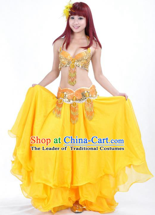 Indian Belly Dance Performance Yellow Dress Traditional India Oriental Dance Costume for Women