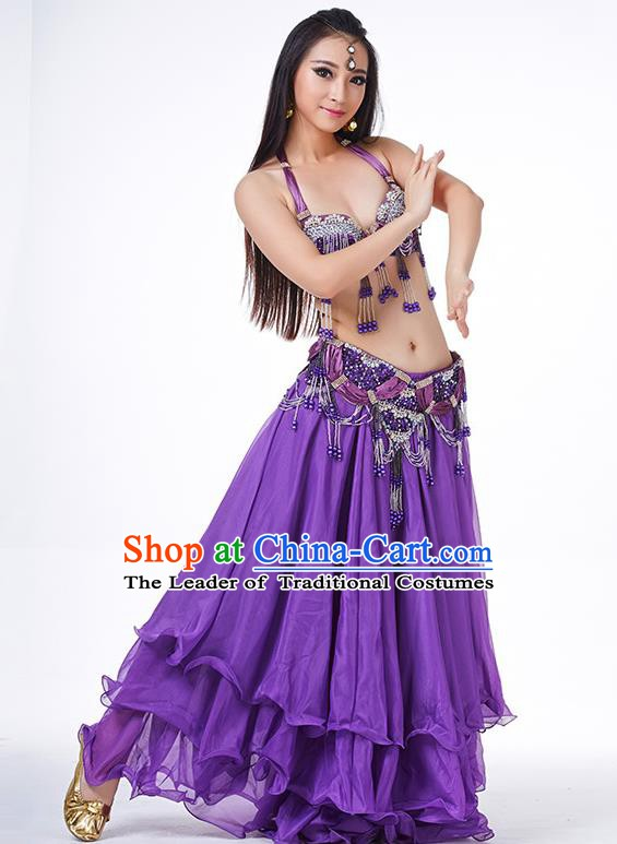 Indian Belly Dance Performance Costume Traditional India Oriental Dance Purple Dress for Women