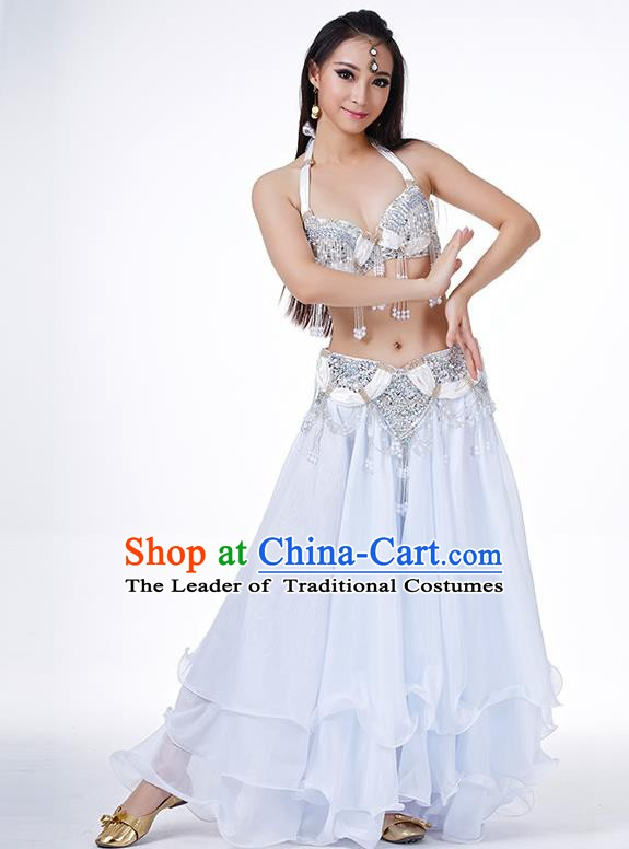 Indian Belly Dance Performance Costume Traditional India Oriental Dance White Dress for Women