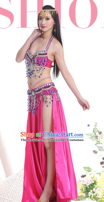 Indian Oriental Belly Dance Performance Costume Traditional Raks Sharki Dance Rosy Dress for Women