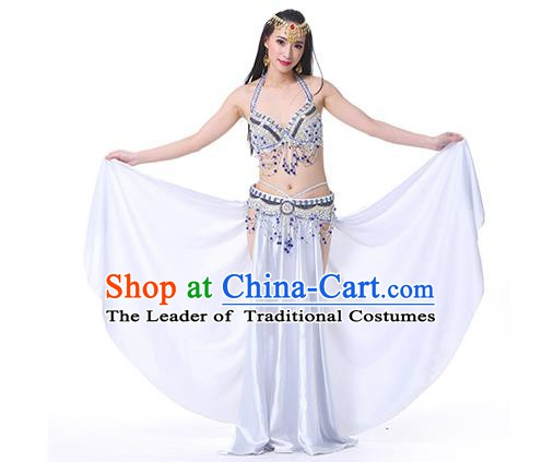 Indian Oriental Belly Dance Performance Costume Traditional Raks Sharki Dance White Dress for Women