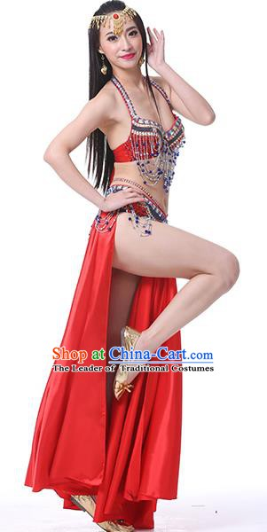 Indian Oriental Belly Dance Performance Costume Traditional Raks Sharki Dance Red Dress for Women