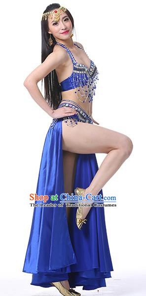 Indian Oriental Belly Dance Performance Costume Traditional Raks Sharki Dance Royalblue Dress for Women
