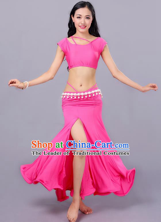Indian Traditional Belly Dance Costume Classical Oriental Dance Pink Dress for Women
