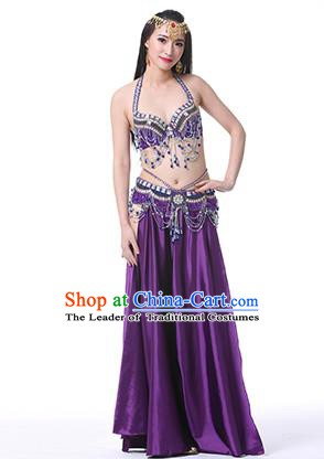 Indian Oriental Belly Dance Performance Costume Traditional Raks Sharki Dance Purple Dress for Women