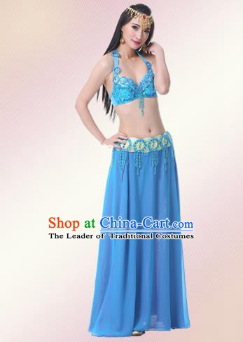 Indian Oriental Belly Dance Performance Blue Dress Traditional Raks Sharki Dance Costume for Women