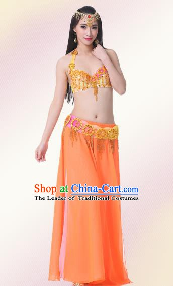 Indian Oriental Belly Dance Performance Orange Dress Traditional Raks Sharki Dance Costume for Women