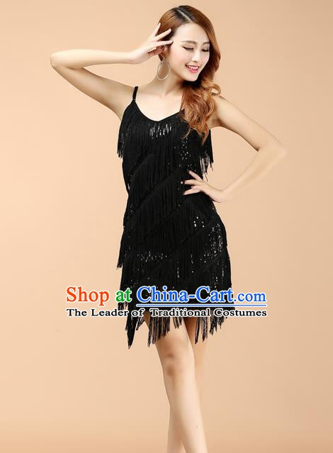 Top Grade Latin Dance Performance Black Dress Modern Dance Ballroom Dance Costume for Women