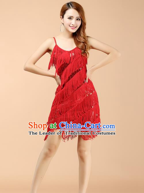 Top Grade Latin Dance Performance Red Dress Modern Dance Ballroom Dance Costume for Women