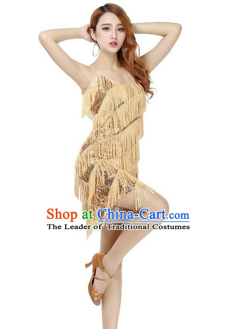 Top Grade Latin Dance Performance Golden Dress Modern Dance Ballroom Dance Costume for Women