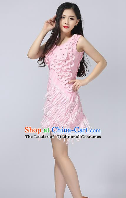 Top Grade Latin Dance Pink Tassel Short Dress Modern Dance Ballroom Dance Performance Costume for Women