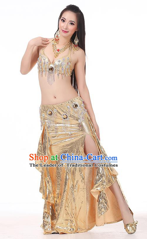 Top Indian Belly Dance Golden Dress India Traditional Raks Sharki Oriental Dance Performance Costume for Women