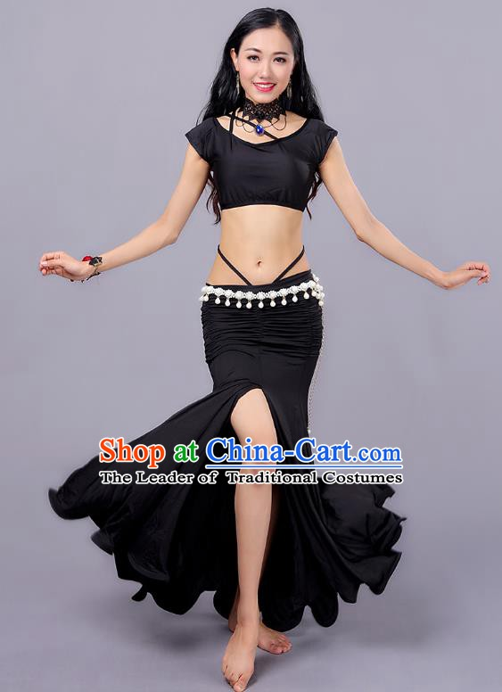 Indian Traditional Belly Dance Costume Classical Oriental Dance Black Dress for Women