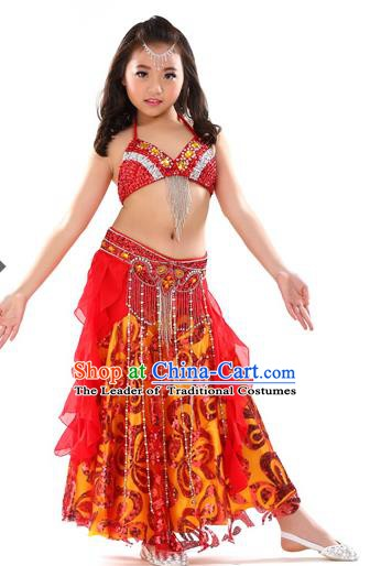 Top Indian Belly Dance Red Dress India Traditional Oriental Dance Performance Costume for Kids