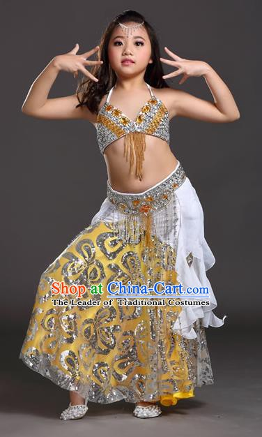 Top Indian Belly Dance White Dress India Traditional Oriental Dance Performance Costume for Kids