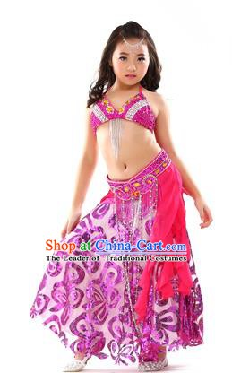 Top Indian Belly Dance Rosy Dress India Traditional Oriental Dance Performance Costume for Kids