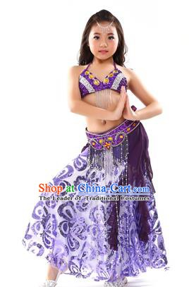 Top Indian Belly Dance Purple Dress India Traditional Oriental Dance Performance Costume for Kids