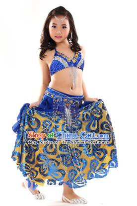 Top Indian Belly Dance Royalblue Dress India Traditional Oriental Dance Performance Costume for Kids
