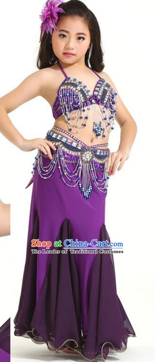 Indian Traditional Children Belly Dance Costume Classical Oriental Dance Purple Dress for Kids