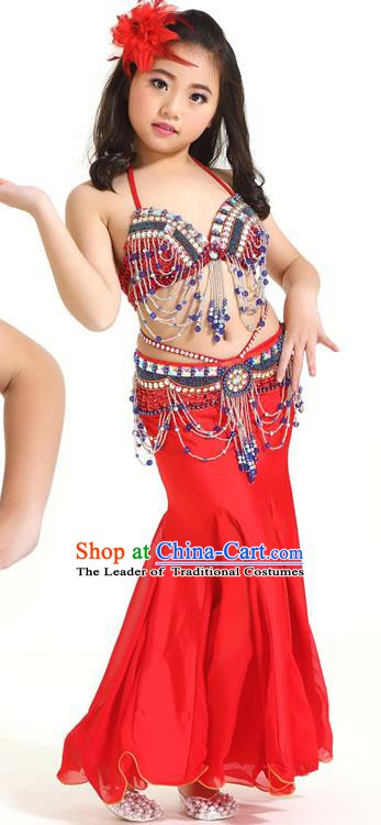 Indian Traditional Children Belly Dance Costume Classical Oriental Dance Red Dress for Kids