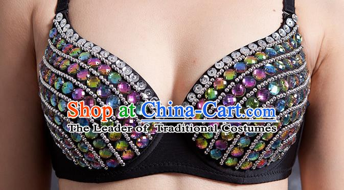Indian Traditional Belly Dance Colorful Crystal Brassiere Oriental Dance Costume for Women