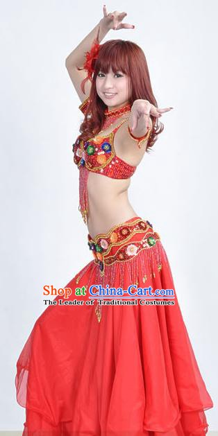 Indian Traditional Belly Dance Performance Costume Classical Oriental Dance Red Dress for Women