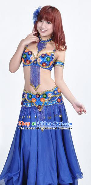 Indian Traditional Belly Dance Performance Costume Classical Oriental Dance Royalblue Dress for Women