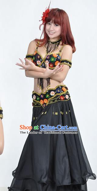 Indian Traditional Belly Dance Performance Costume Classical Oriental Dance Black Dress for Women