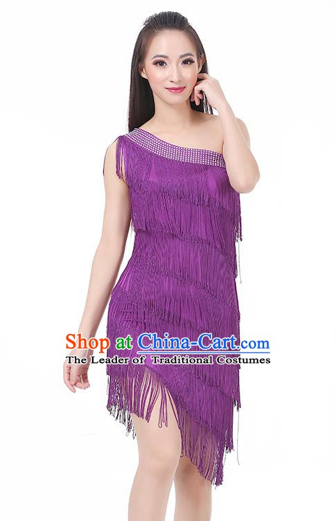 Top Modern Dance Latin Dance Costume Classical Jazz Dance Purple Tassel Dress for Women