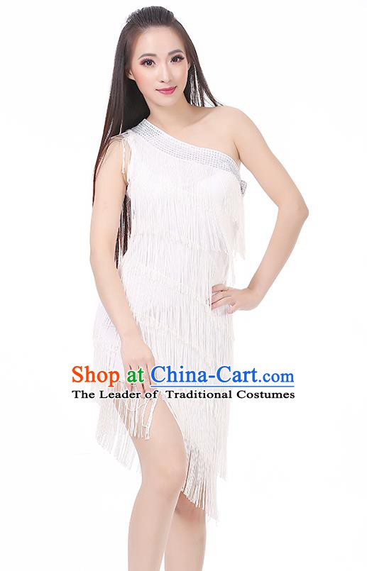 Top Modern Dance Latin Dance Costume Classical Jazz Dance White Tassel Dress for Women