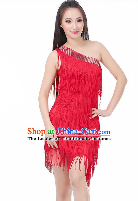 Top Modern Dance Latin Dance Costume Classical Jazz Dance Red Tassel Dress for Women