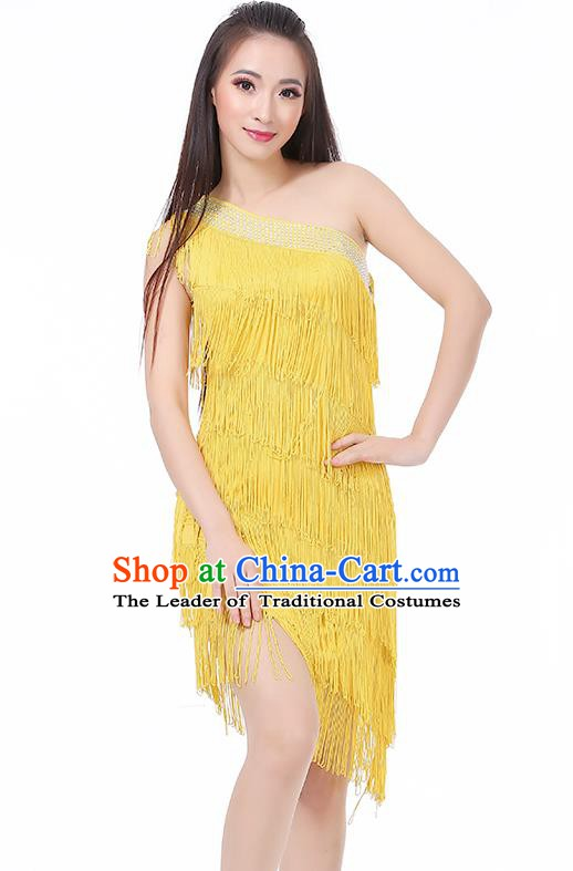 Top Modern Dance Latin Dance Costume Classical Jazz Dance Yellow Tassel Dress for Women