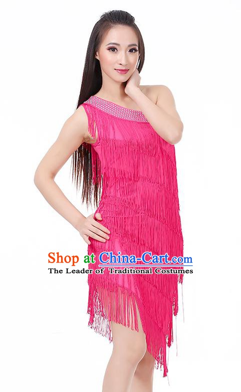 Top Modern Dance Latin Dance Costume Classical Jazz Dance Rosy Tassel Dress for Women