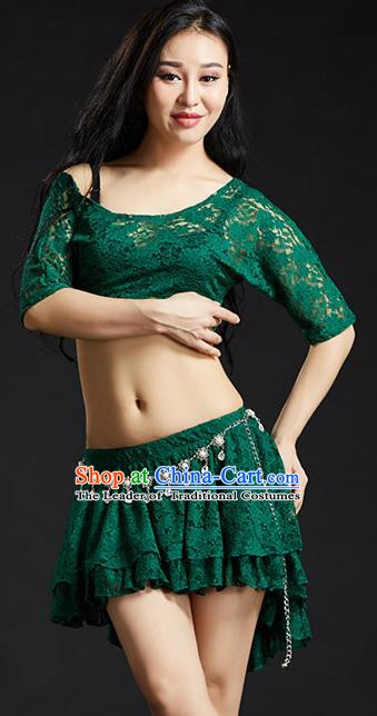 Indian Traditional Belly Dance Performance Costume Classical Oriental Dance Green Lace Dress for Women