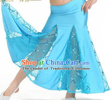 Indian Traditional Belly Dance Performance Costume Classical Oriental Dance Blue Fishtail Skirt for Kids
