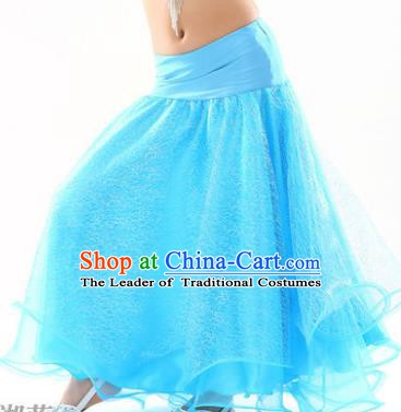 Indian Traditional Belly Dance Performance Costume Blue Skirt Classical Oriental Dance Clothing for Kids